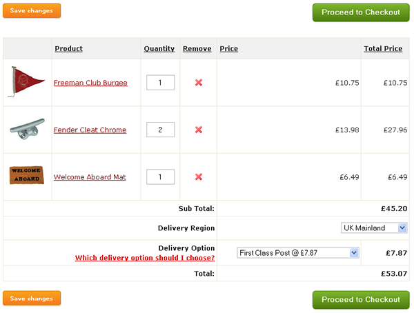 An example of a sheridanmarine.com shopping basket.
