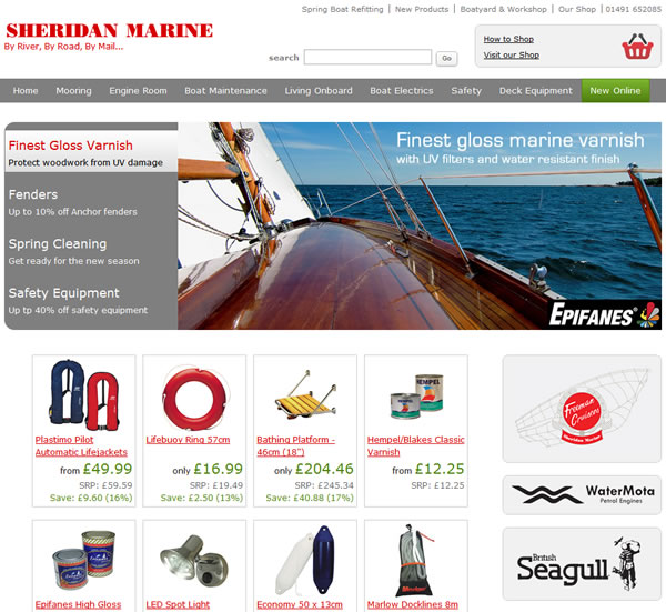 An example of the sheridanmarine.com home page.