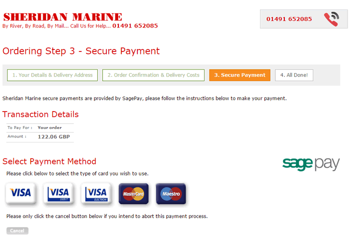 An example of the sheridanmarine.com payment page.