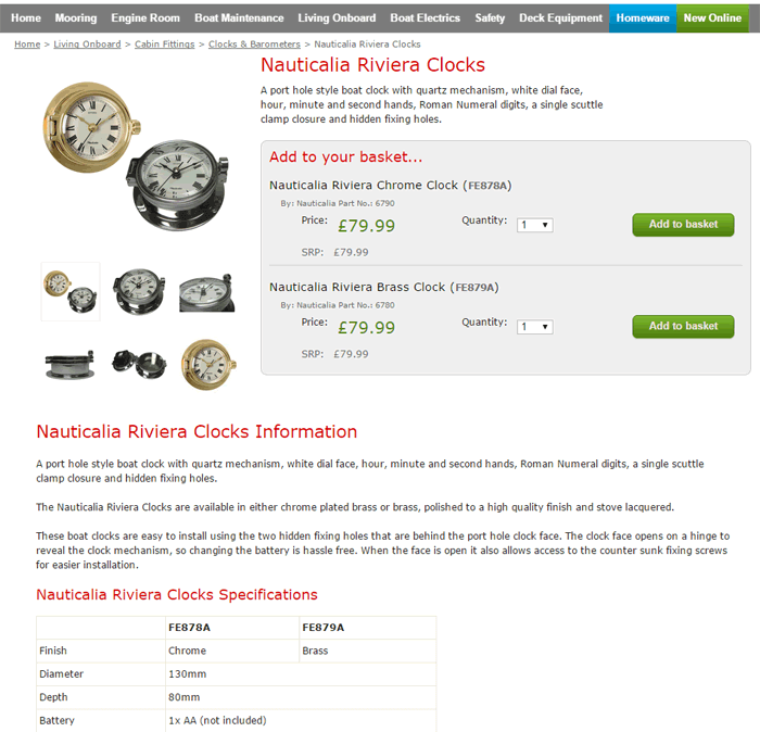 An example of a sheridanmarine.com product page.